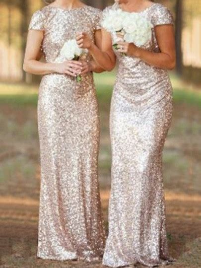 Sale Sandal Pesta Fladeo M 3 golden plain sequin bridesmaid v back neck