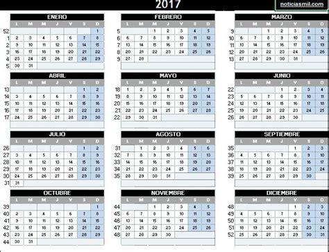 Calendario 2017 Excel Con Festivos Calendario 2017 Calendarios 2017 Para Imprimir