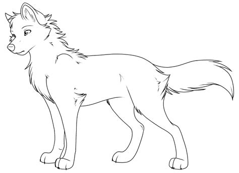 Anime Wolf Coloring Page | free printable wolf coloring pages for kids