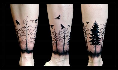 leg tree tattoo designs black flying birds and forest tree on leg back