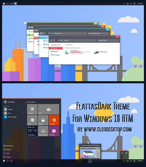 themes for windows 10 free flattasdark theme for windows 10 rtm by cleodesktop on