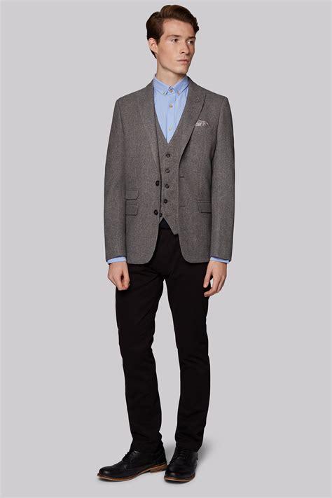 Jaket 2 In 1 Dc Light Gray moss slim fit light grey hopsack jacket