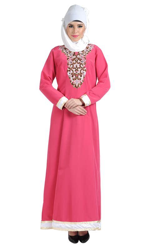 Jilbab Saudia Segi4 Polos embroidered pink formal abaya