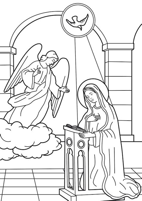 free coloring pages angel and mary blessed virgin mary pencil coloring coloring pages