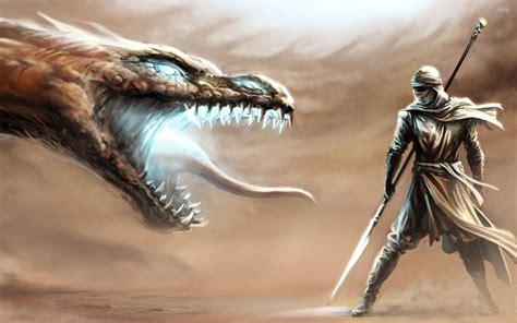 Dragon Vs Desert Warrior Wallpaper