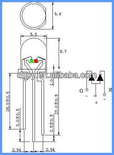common cathode diode array dual bi color 5mm led diode common anode common cathode