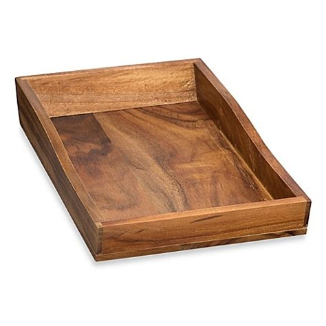 bed bath and beyond trays acacia vanity towel tray www bedbathandbeyond com