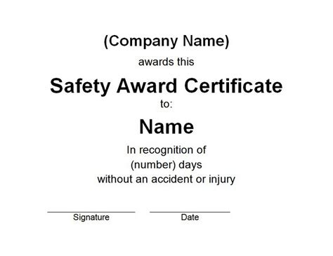 safety recognition certificate template safety award certificate free templates customizable wording