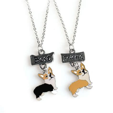 diy best friend necklaces 2pcs set jewellery lovely corgi pet pendant necklaces diy dogs charms best friends