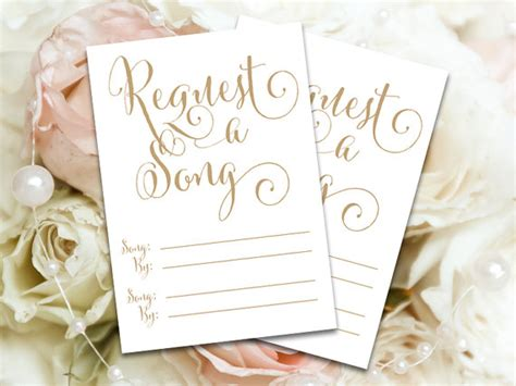 Wedding Card On Song by Request A Song Cards 3 5 X 5 Diy Printable Cards In