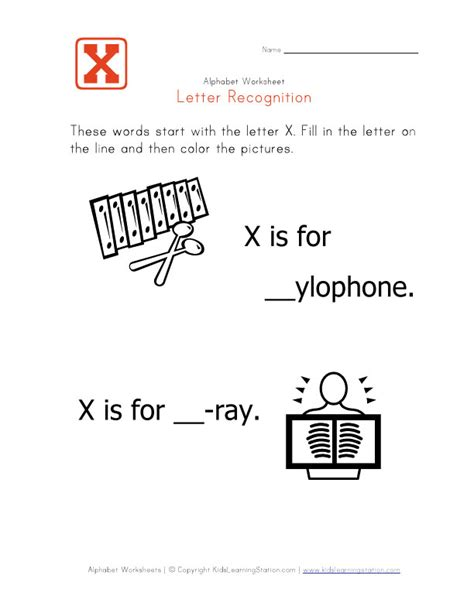 Letter Start With X worksheets x words for opossumsoft worksheets and