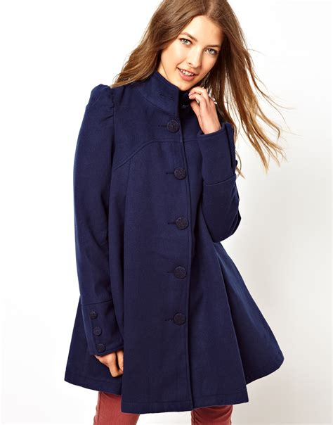 swing coat lyst free pleated swing coat in blue