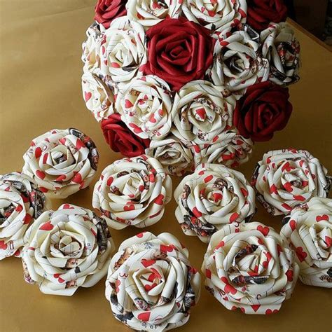 rose themed paper playing card alice in wonderland theme paper flower