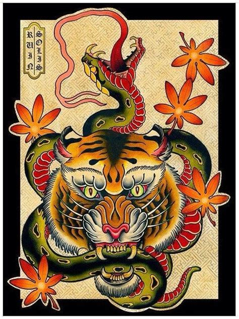 old school japanese tattoo style old school tiger keeping long green snake in teeth tattoo