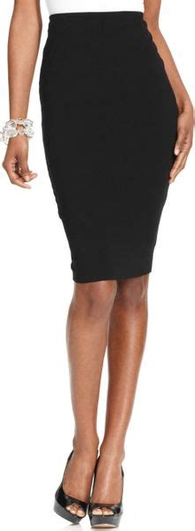 vince camuto stretch knit pencil skirt in black lyst