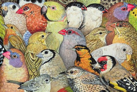 patchwork birds painting by ditz