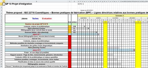 rétro planning et diagramme de gantt xls outil d autodiagnostic norme iso 22716