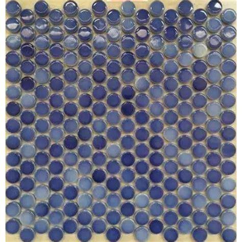 Penny Round Porcelain Blue Tile