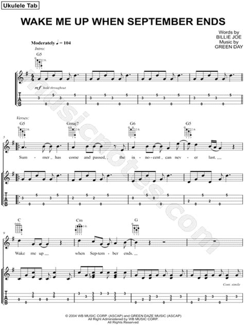 tutorial guitar wake me up green day quot wake me up when september ends quot ukulele tab in