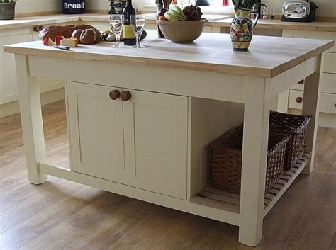 white mobile island with seating for classic kitchen decor