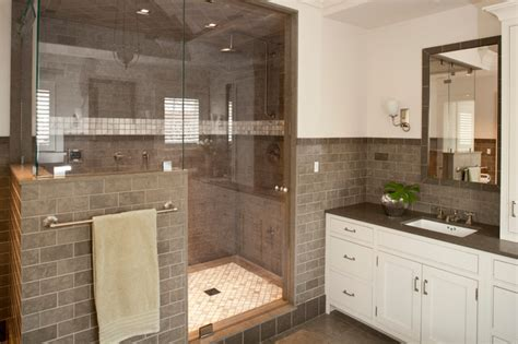 full tile bathroom gray subway tile bathroom design ideas