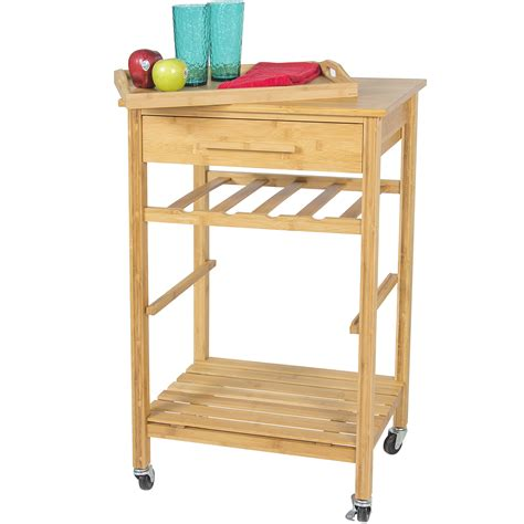 Rolling Wood Kitchen Storage Cart Rack With Drawer | rolling wood kitchen storage cart rack with drawer
