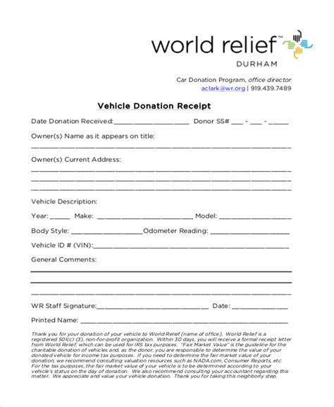 car donation receipt template sle donation receipt form 8 free documents in pdf