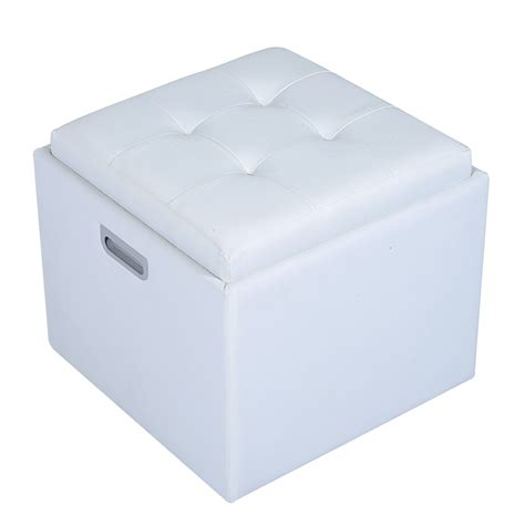 Square Tufted Storage Ottoman Homcom 14 Quot Tufted Square Storage Ottoman With Tray White