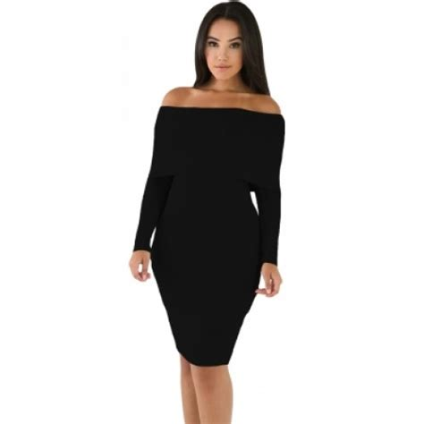 Shoulder Knit Mini Dress black mini knit jersey shoulder dress black mini knit