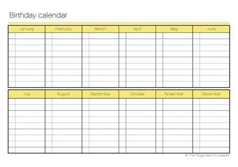 printable monthly calendar list printable birthday calendar the organised housewife