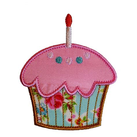 applique designs cupcake and cupcake with candle machine embroidery