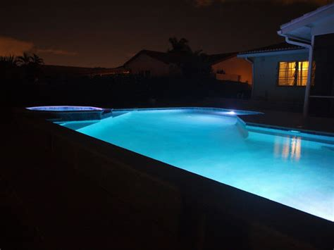 pool at night the new blue pool first swim night lights