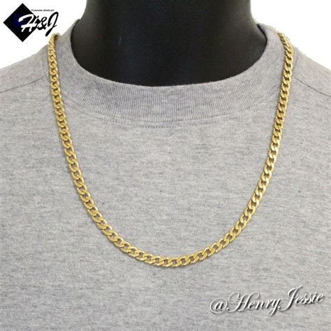 24 quot s stainless steel 6mm gold cuban curb link chain