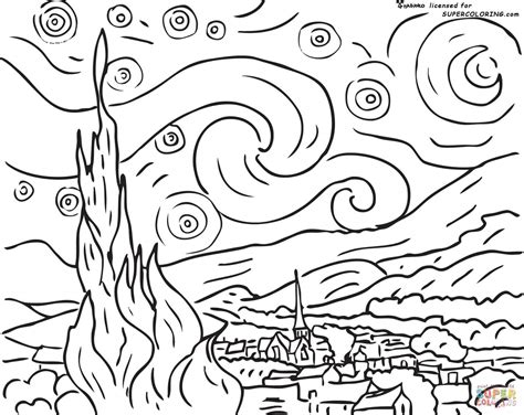 Starry Coloring Page Gogh When Printing You Can Try Choosing Landscape Layout For by Starry Coloring Page Gogh