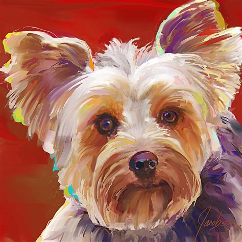 yorkie painting yorkie 6 painting by jackie jacobson