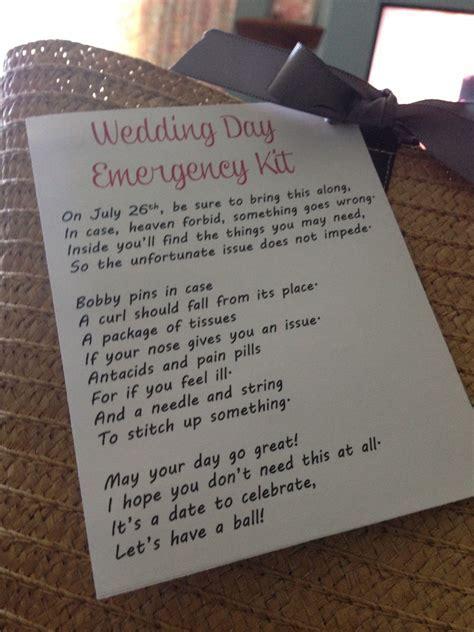 Wedding day emergency kit poem   Gift Ideas in 2019