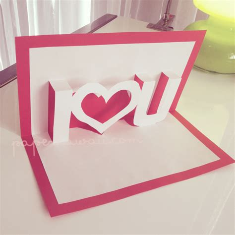 diy i you pop up card template diy pop out quot i u quot card the idea king