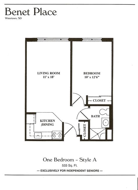 floor plans benet place senior apartments independent living watertown sd