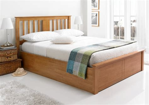 Malmo Oak Finish Wooden Ottoman Storage Bed Light Wood Ottoman Storage Bed