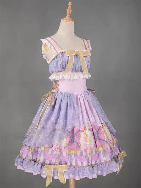 sweet lolita dress jsk christmas deer royal blue printed ruffle bow lace  tunic lolita jumper