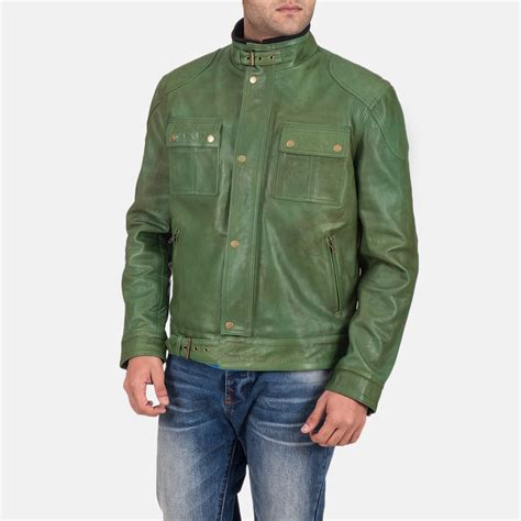 Mens Green Leather s krypton distressed green leather jacket