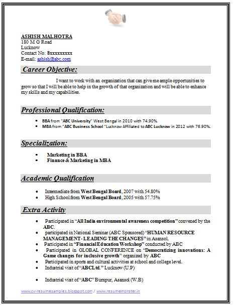 mba finance fresher resume format doc exle template of an excellent mba finance marketing