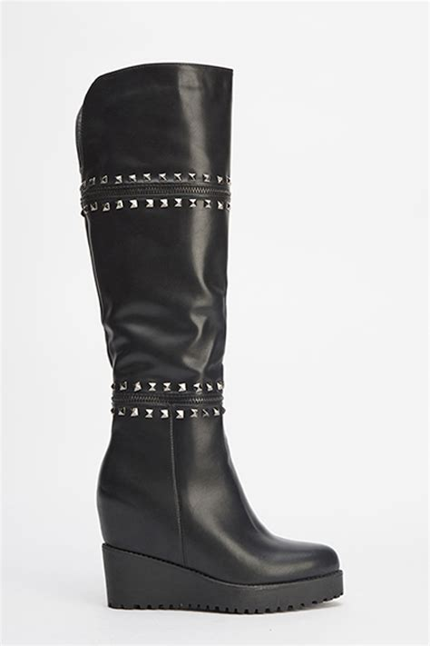 knee high wedge boots just 163 5