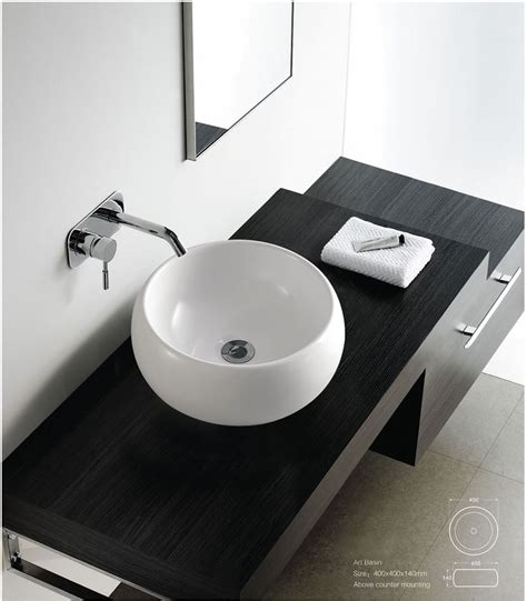 contemporary modern round ceramic cloakroom basin bathroom