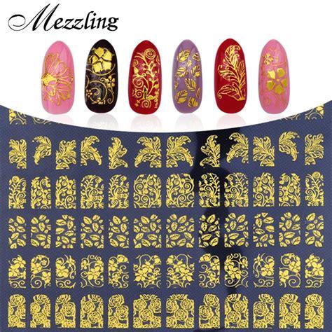 Nail Sticker Stiker Kuku Nail 3 3d nail stickers decals 108pcs sheet charm gold metallic mix flowers designs nail tips