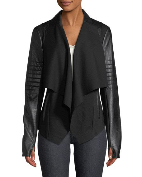 draped faux leather jacket blanc noir drape front quilted faux leather jacket