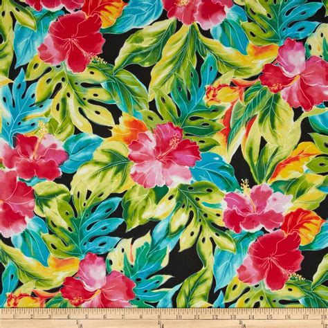 tropical colours splash of color tropical leaves black discount designer fabric fabric