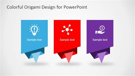 layout of a powerpoint colorful origami design layout for powerpoint slidemodel