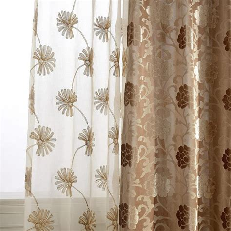 tan sheer curtains elegant tan dandelion embroidered sheer curtains