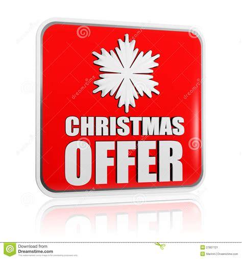 christmas offer red banner with snowflake symbol stock